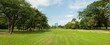 Leinwandbild Motiv Panorama image of Beautiful of green lawn grass meadow field and trees in public park with city buildings in the background.