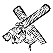 Savior Jesus In A Crown Of Thorns Carrying A Cross