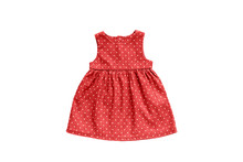 Pink Girls Dress With White Polka Dots Design Isolated On White Background