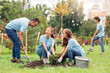 canvas print picture - Volunteering. Young people volunteers outdoors planting trees digging ground talking cheerful