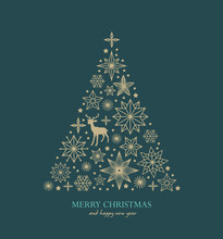 Christmas Greeting Card/ Poster/ Cover With Stars, Snowflakes, Christmas Tree And Reindeer