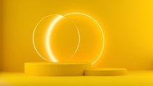 3d Render Yellow Platform With Neon Shining And Transparent Glass Rings. Geometric Shapes Composition With Empty Space For Product Design Show. Minimal Banner Mockup.