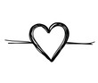 hand drawn heart with thin line. Vector illustration.