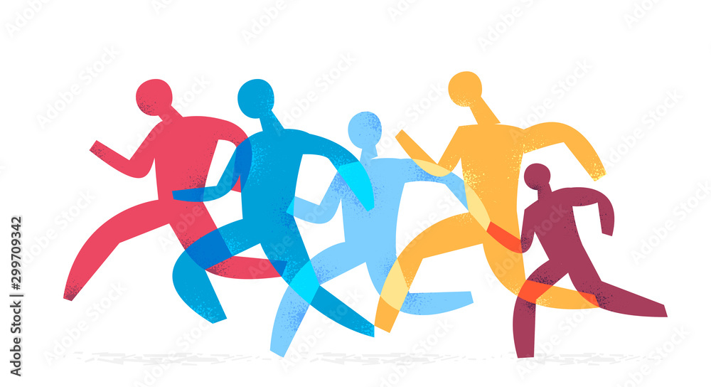 Fototapeta group of people running