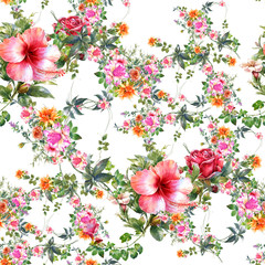 Fototapeta Inspiracje na wiosnę Watercolor painting of leaf and flowers, seamless pattern on white background