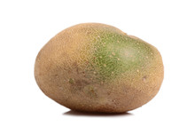 Raw Unpeeled Potato With Green Skin. Isolated On A White Backgro