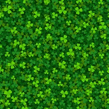 Green Clover Shamrock Seamless Pattern. St. Patrick's Day Background