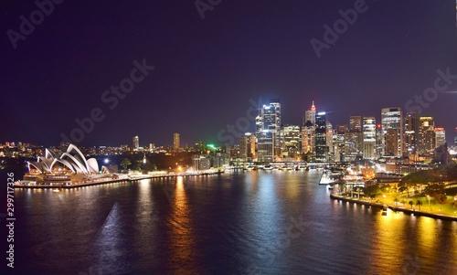 Aerial Wide Shot of Sydney Skyline and Harbor at Night - Sydney, Australia