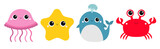 Fototapeta Fototapety na ścianę do pokoju dziecięcego - Whale Jellyfish Crab Starfish toy icon set line. Big eyes. Yellow star. Cute cartoon kawaii funny baby character. Sea ocean animal collection. Flat design. Kids print. White background. Isolated.