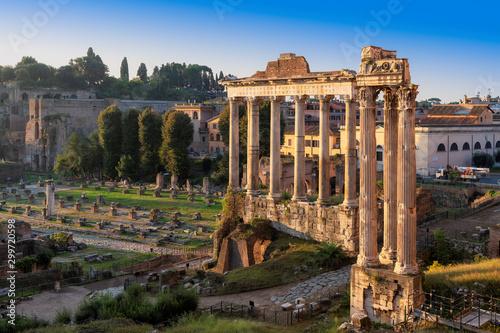 Old ruins of Roman Forum at sunrise in Rome, Italy Fototapeta