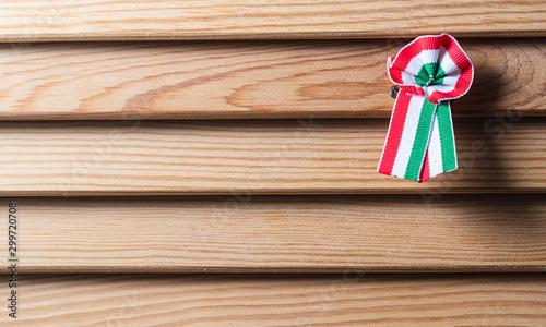 Hungarian cockade on wooden seamless background Tapéta, Fotótapéta