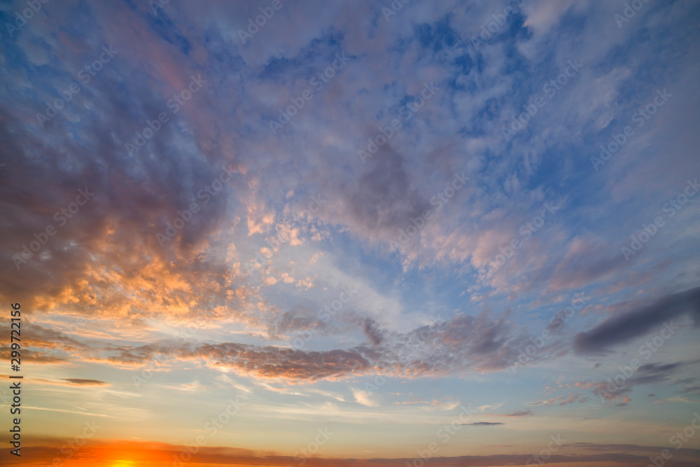 Fototapety, obrazy: Dramatic sunset sky with orange clouds.