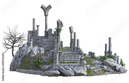 Fotografía  3D Rendered Ancient Castle Ruins on White Background - 3D Illustration