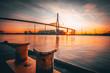 canvas print picture - Blick auf die Köhlbrandbrücke
