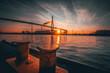 canvas print picture - Sonnenuntergang an der Köhlbrandbrücke