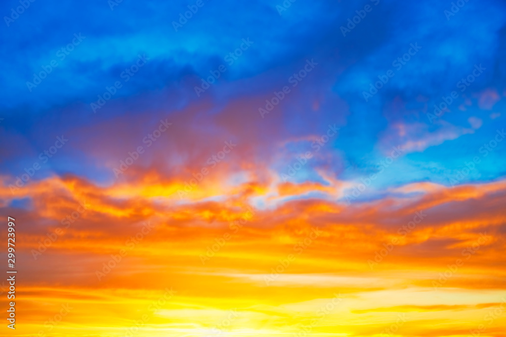 Fototapety, obrazy: Sunset blue orange sky with sun and colorful clouds