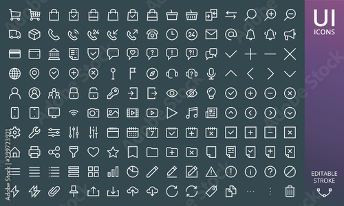 Rectangular style website icons ui material design set Fototapet