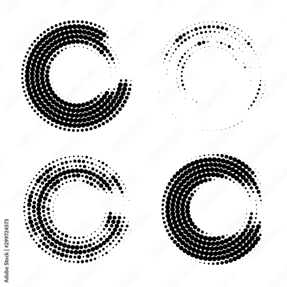Fototapety, obrazy: Halftone dots in circle form. Abstract Geometric shape. Graphic design element. Vector
