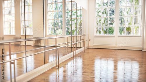Dance or ballet studio interior. 3d illustration - 299725375