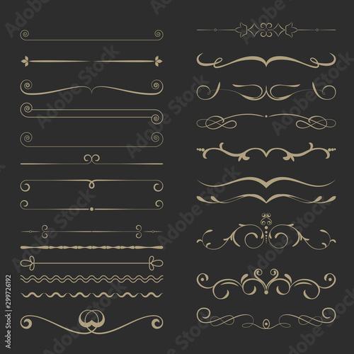 Obraz Vintage Calligraphic Design Page Dividers Set 4 - fototapety do salonu