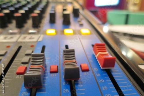 Selective focus of analogic sound mixer Wallpaper Mural