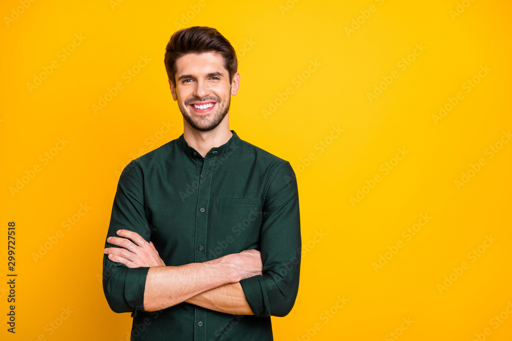 Fototapety, obrazy: Portrait of confident cool entrepreneur guy cross hands look feel positive cheerful emotions real professional expert wear casual style clothing isolated over yellow color background