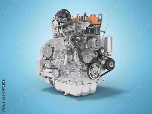Fototapeta Concept car motor 3d rendering on blue background with shadow