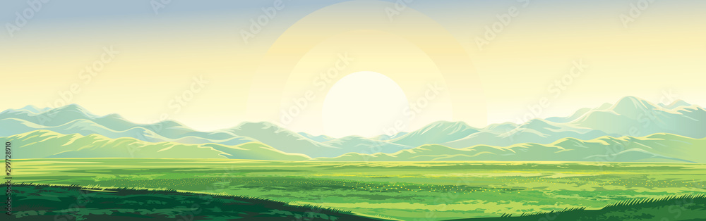 Fototapety, obrazy: Summer rural mountain landscape, dawn over the valley, elongated format.