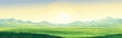 Summer rural mountain landscape, dawn over the valley, elongated format.