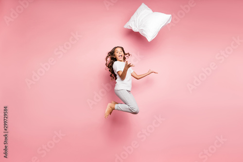 Full length body size turned photo of cheerful crazy barefoot amazed child throw Wallpaper Mural