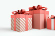 Christmas and New Year's Day , group three red gift boxes ribbon white background 3d rendering