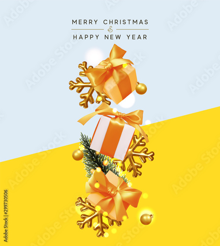 Merry Christmas and Happy New Year. Xmas Background with realistic gift box and golden volume 3d snowflake, gold bauble ball, pine tree, sparkling bokeh lights. Greeting card, poster, banner.