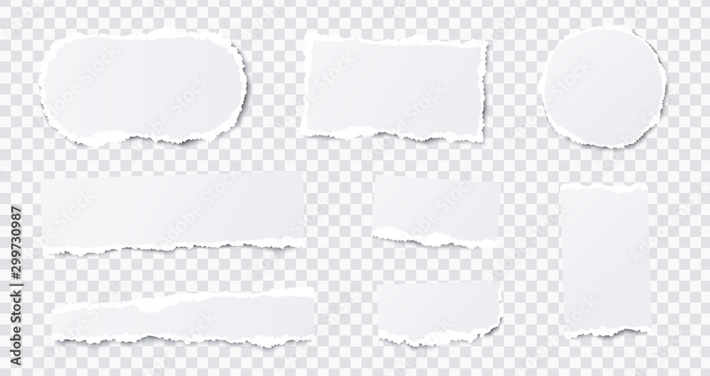 Fototapety, obrazy: Seamless torn ripped paper layered isolated. Stripes, round, rectangular paper scraps. White color. Transparent background. Realistic template. Simple modern design. Flat style vector illustration.