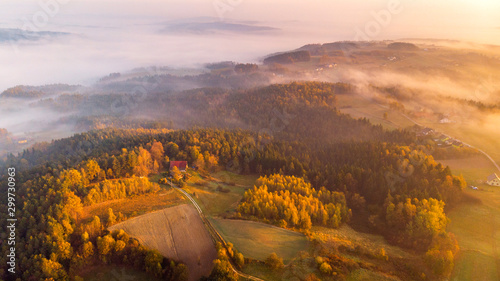 Obraz Colorful Sunrise over Forest and Countryside in Poland. Aerial Drone View - fototapety do salonu