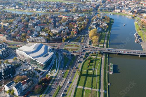 Fototapeta Aerial balloon view of the city, ICE Congress Center, Vistula River and Grunwald Bridge, Krakow, Poland obraz