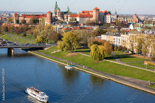 Fototapeta Aerial balloon view of the city, Wawel Royal Castle with Wawel Cathedral, Vistula River and Grunwald Bridge, Krakow, Poland obraz