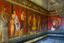 The Frescoes Of Villa Dei Misteri (Villa Of The Mysteries), An Ancient Roman Villa At Pompeii Ancient City, Italy