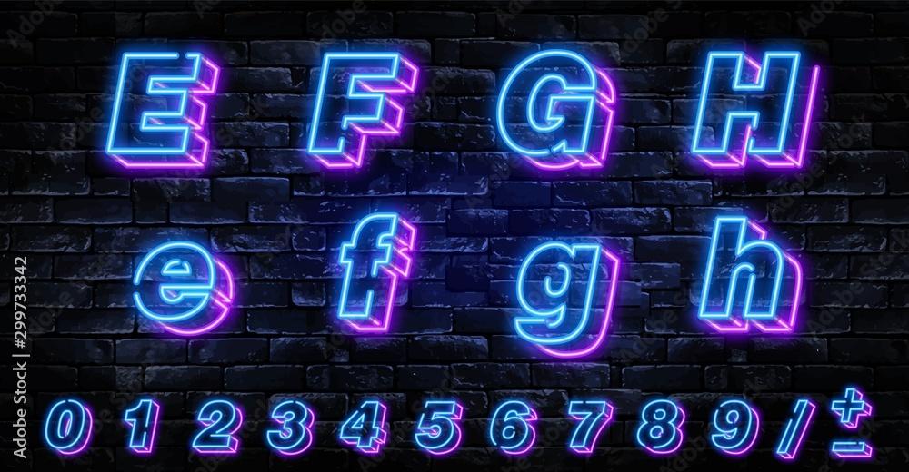 Fototapeta 3D Neon letters E-H. Neon blue font english. City blue font. Neon city color blue font. English alphabet and numbers sign. Vector illustration