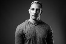 Studio Shot Of Muscular Man In...