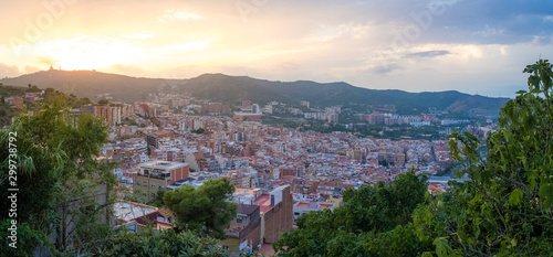 AUGUST 29 2018, BARCELONA, SPAIN: View of Barcelona city and costline in spring from the Bunkers in Carmel neighborhood Canvas Print