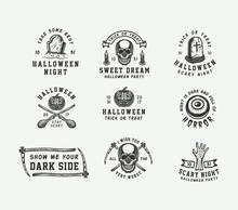 Vintage Retro Halloween Logos,...