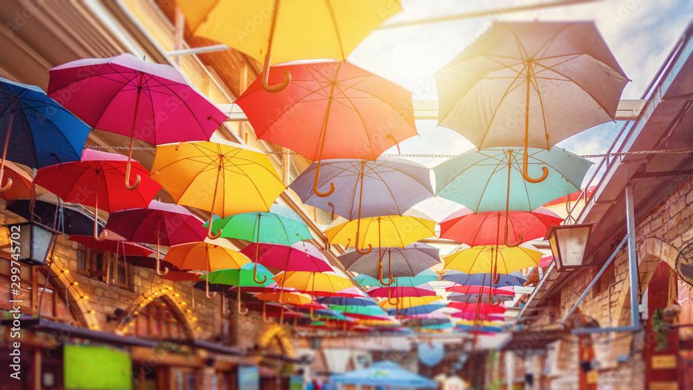 Fototapety, obrazy: Limassol, Cyprus - 10.10.2019: Umbrellas in Limassol center street