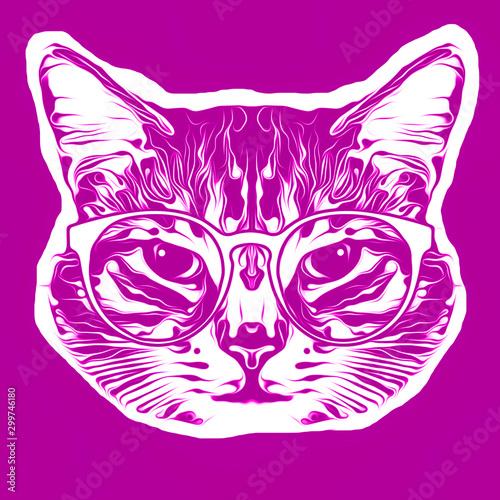 monochrome artistic cat muzzle isolated on white background