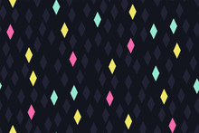 Abstract Seamless Geometric Pattern With Diamonds (rhombus) Of Different Colors On A Dark Background. A Rectangle With A Glow Effect. Creative Design. Modern Retro Print. Vector Illustration.