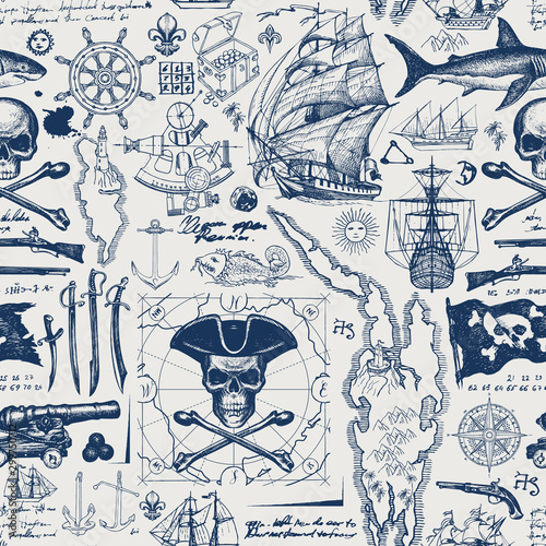Fototapeta Vector abstract seamless pattern with skull, crossbones, pirate flag, swords, guns, caravels, old map and other nautical symbols