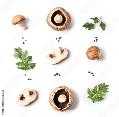 Fototapeta Fresh champignon mushrooms, herbs and spices on white background obraz