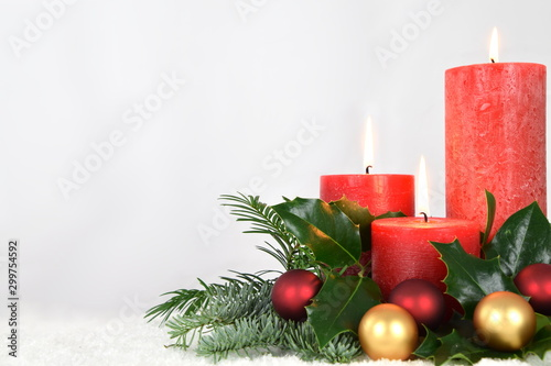 warm candlelight for advent and christmas Fototapeta