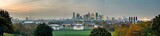 Fototapeta Londyn - Panoramic view of London city skyline at dusk from Greenwich Park