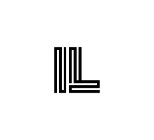 Initial Two Letter Black Line Shape Logo Vector IL