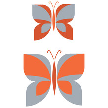 Two Retro Geometric Obutterfly Vector Illustration. Hand Drawn Garden Insect In 60s Flat Color. Vintage Orange And Blue Bug Wildlife Clipart.